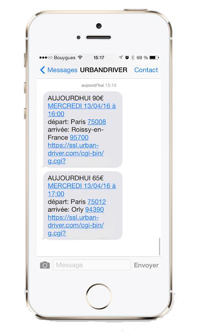 SMS type de l'application chauffeur URBANDRIVER