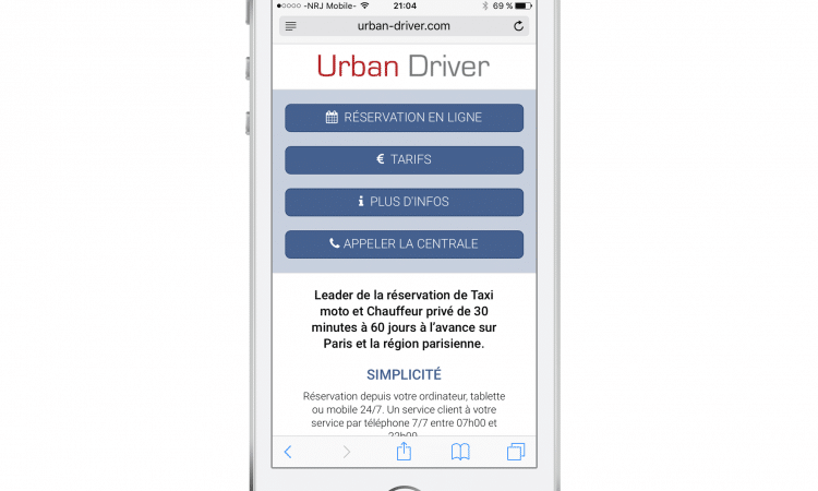 Site mobile de Urban Driver sur Iphone
