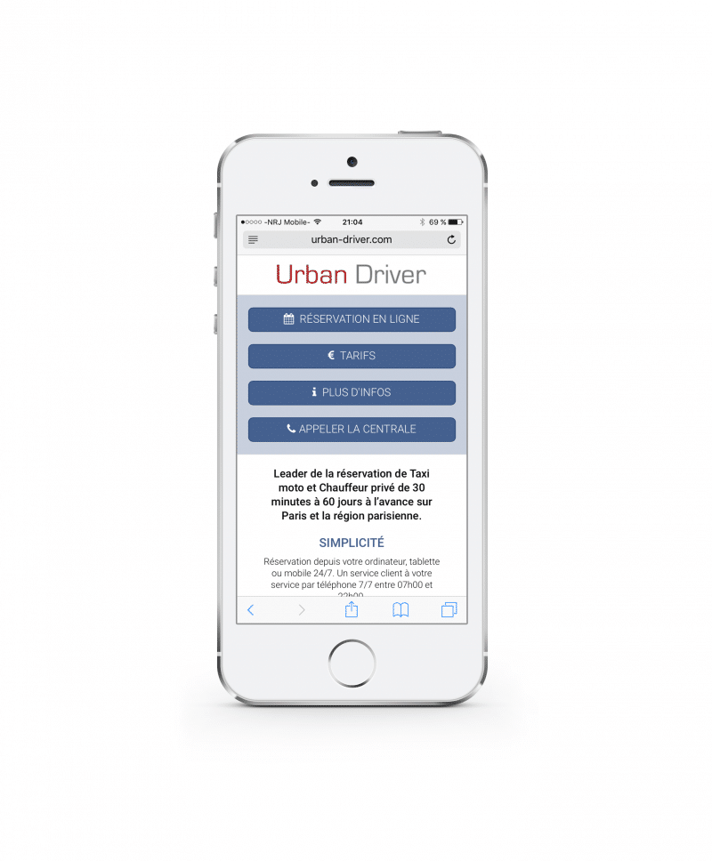 Site mobile de Urban Driver sur Iphone