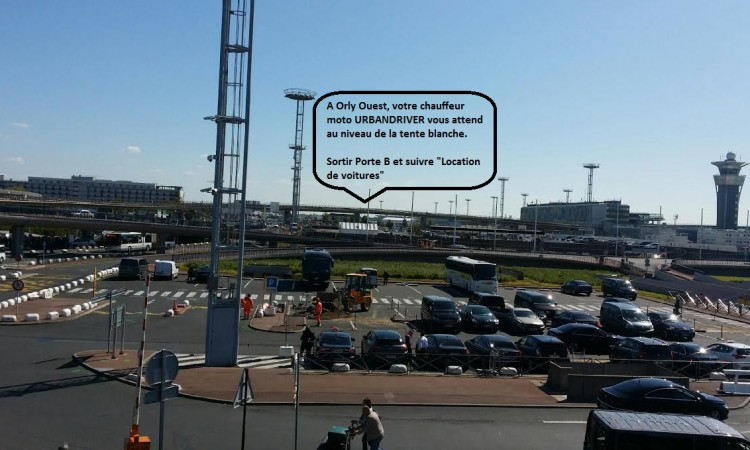 Retrouvez facilement votre chauffeur moto à votre arrivée à Orly Terminal Ouest.
